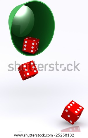 A 3d Rendered Illustration of a Set of Lucky Dice