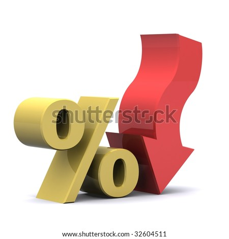 A 3d Rendered Illustration showing a Fall in Interest - stock photo