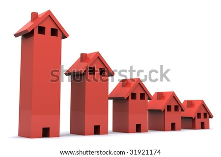 A 3d Rendered Illustration showing a Fall in the Property Market
