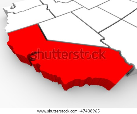 A 3d rendered map of the state of California - stock photo