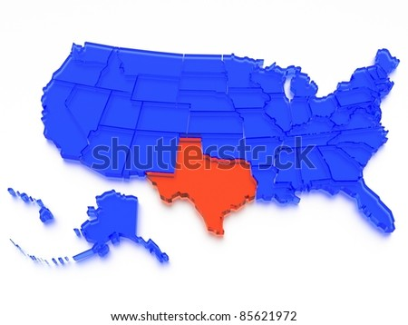 a 3D rendered map of USA - State Texas - stock photo