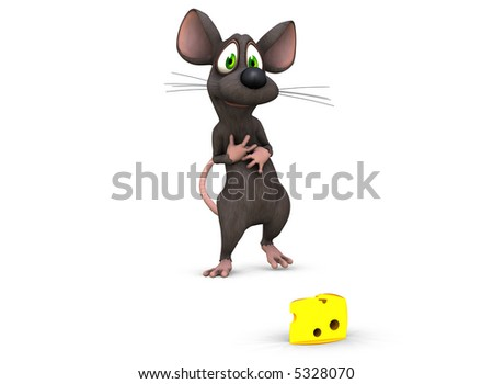 a 3d rendered mouse finds his prize and looks at it lovingly - stock photo
