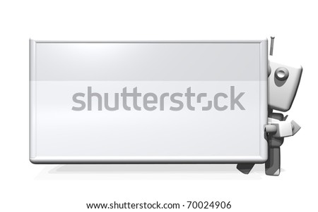 A 3D rendered robot holding a big blank card on white background; Computer generated illustration. - stock photo