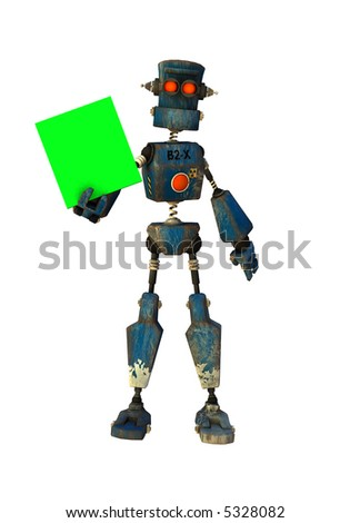 a 3d rendered robot shows a message (replace green with your own) - stock photo