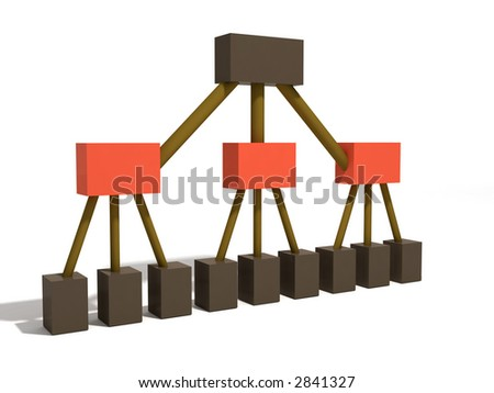 a 3d rendering depicting a classic org chart with middle managers - stock photo
