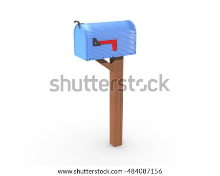 A 3D rendering of a blue and empty US Mailbox, closed with corrugated casing and red flag down.