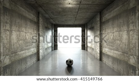 A 3D rendering of  a distant look down a dark stadium tunnel to enter a lit arena in the distance with a rugby ball placed at the entrance