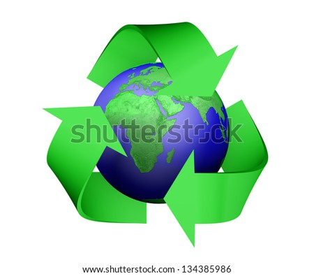 a 3D rendering of a green recycle icon that is covering earth with green lands, isolated on a white background - stock photo
