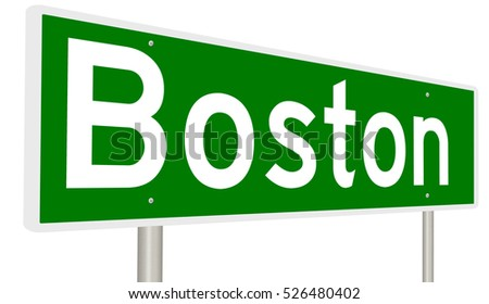A 3d rendering of a highway sign for Boston, Massachusetts