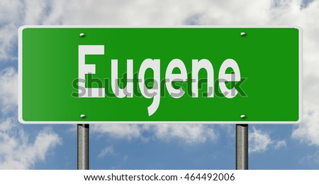 A 3d rendering of a highway sign for Eugene