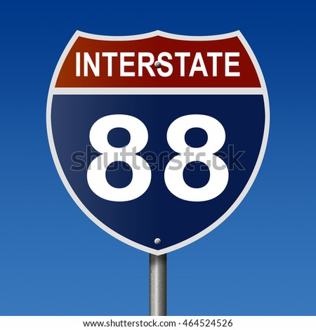 A 3d rendering of a highway sign for Interstate Route 88