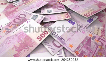 A 3D rendering of a macro close-up view of a messy scattered pile of european euro banknotes - stock photo