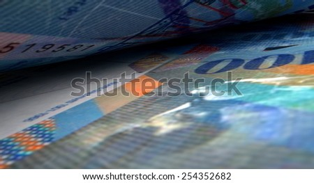 A 3D rendering of a macro close-up view showing the detail in between two separated swiss franc banknotes - stock photo