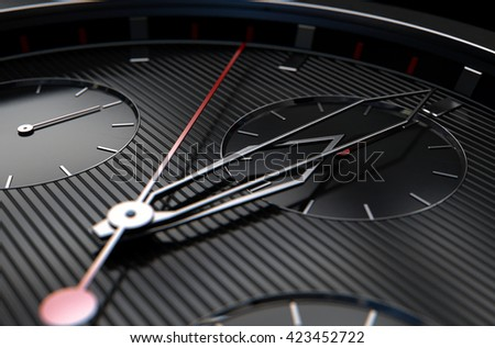 A 3D rendering of a macro closeup of a modern mens watch with elegant black and chrome finishes - stock photo