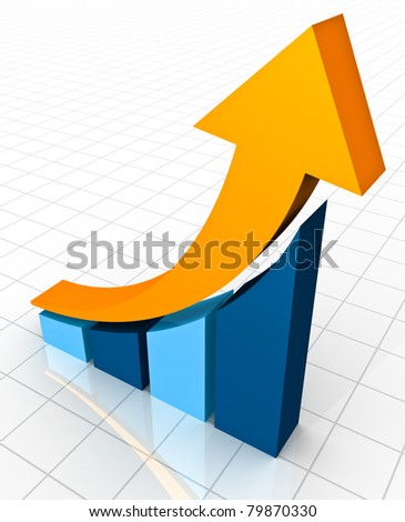 A 3D rendering of a simple curved business bar graph on a white reflective background showing an ornage arrow curving upwards to show profits and gains