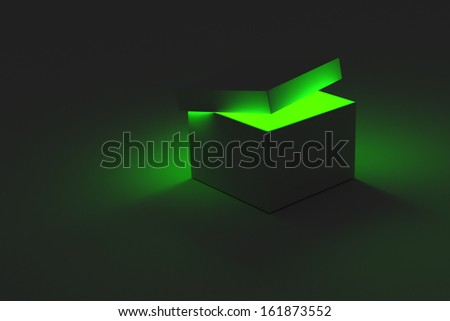 A 3D rendering of a single box with the lid partially open revealing a glowing light coming from inside. - stock photo