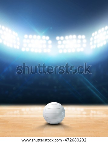 A 3D rendering of an indoor volleyball court and ball on a wooden floor under illuminated floodlights