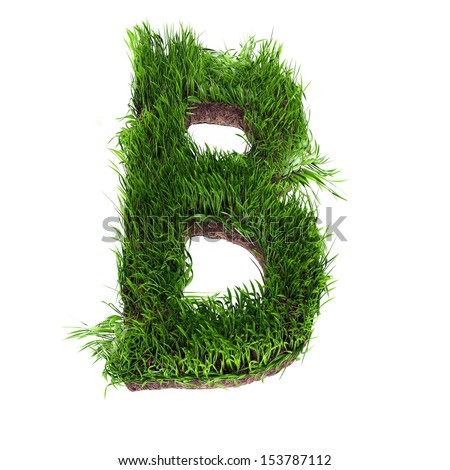 A 3D rendering of an upper case B in grass - stock photo