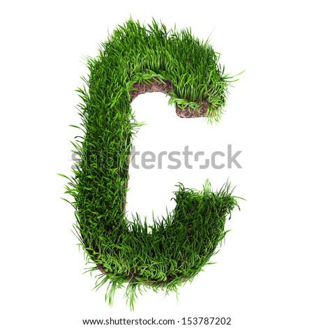A 3D rendering of an upper case C in grass - stock photo