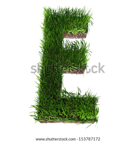 A 3D rendering of an upper case E in grass - stock photo