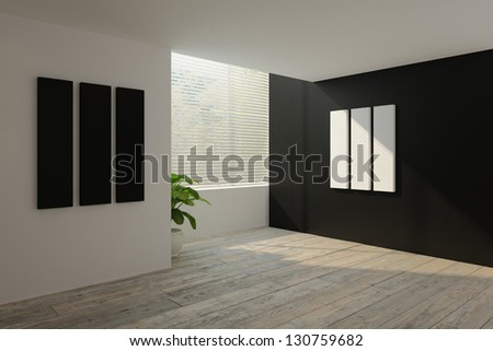 A 3D rendering of empty interior - stock photo