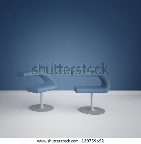 A 3D rendering of empty room with modern chairs
