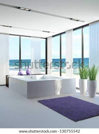 A 3D rendering of light bathroom interior with jacuzzi - stock photo