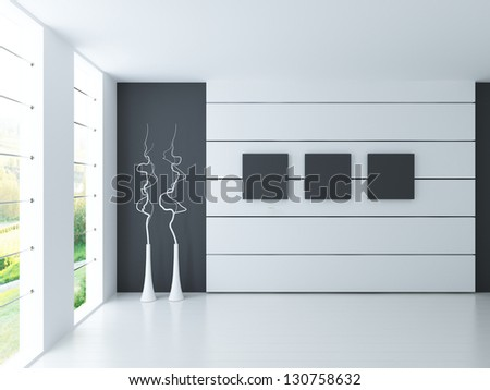 A 3D rendering of light empty interior - stock photo