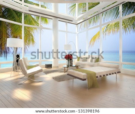 A 3D rendering of loft apartment interior with seascape view - stock photo