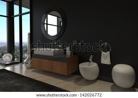 A 3d rendering of Luxury Bathroom Interior in a modern Penthouse - stock photo