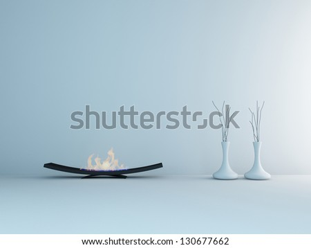 A 3D rendering of minimalist fireplace and vases - stock photo