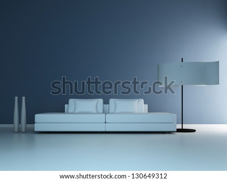 A 3D rendering of minimalist living room - stock photo