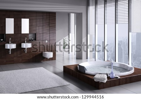 A 3D rendering of modern bathroom with double basin and jacuzzi - stock photo