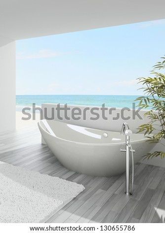 A 3D rendering of modern bathtub with seascape view - stock photo