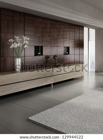 A 3D rendering of modern interior with vase of flowers