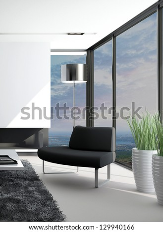 A 3D rendering of modern mountain loft with landscape view - stock photo