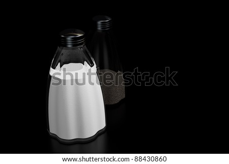 a 3D rendering of salt and pepper shakers on a black reflective background - stock photo