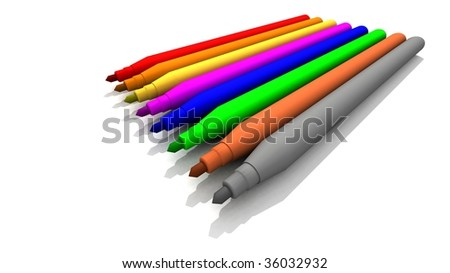 a 3D rendering of some colored felt-tips