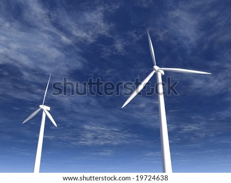 a 3d rendering of some wind turbines
