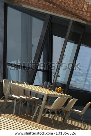 A 3D rendering of sunny terrace with dining table and chairs