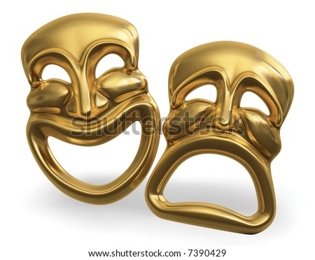 A 3d rendering of the classic comedy-tragedy theater masks isolated on white with a clipping path - stock photo