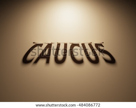 A 3D Rendering of the Shadow of an upside down text that reads Caucus