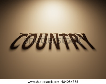 A 3D Rendering of the Shadow of an upside down text that reads Country.