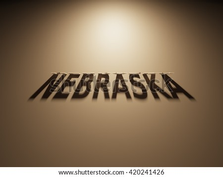 A 3D Rendering of the Shadow of an upside down text that reads Nebraska.