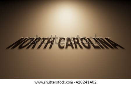 A 3D Rendering of the Shadow of an upside down text that reads North Carolina.