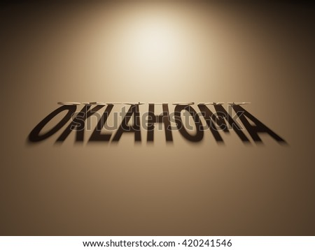 A 3D Rendering of the Shadow of an upside down text that reads Oklahoma.