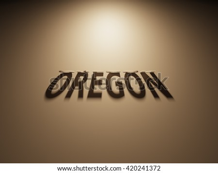 A 3D Rendering of the Shadow of an upside down text that reads Oregon.