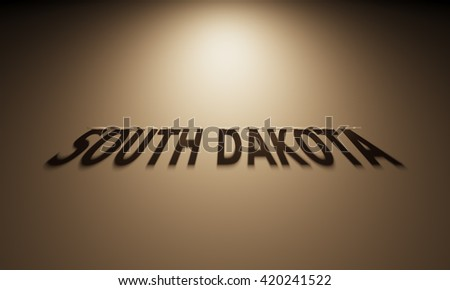 A 3D Rendering of the Shadow of an upside down text that reads South Dakota.
