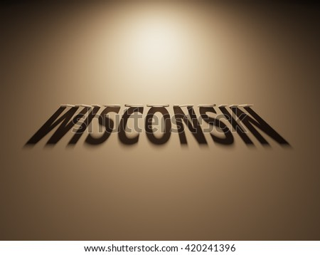 A 3D Rendering of the Shadow of an upside down text that reads Wisconsin.