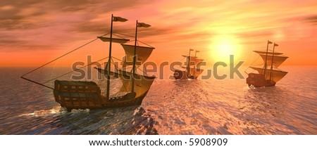 a 3d rendering of three vessels at sunset - stock photo